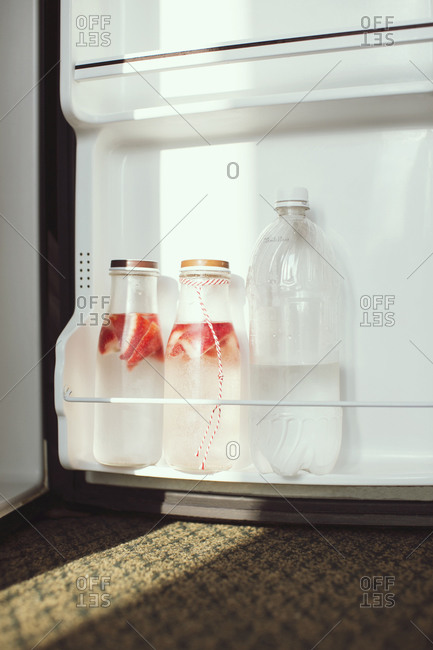 Strawberry infused water in the fridge