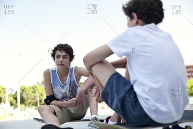 Teenaged boys hanging out