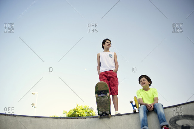 Teenaged boys at a skate park