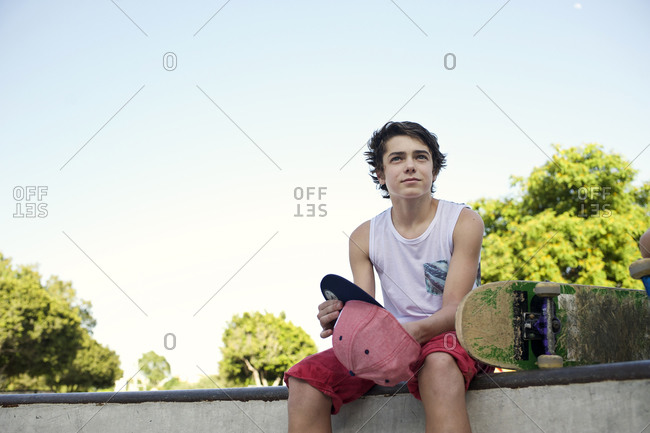Teenager hanging out at skate park