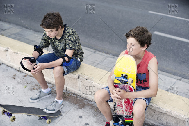 Teen skateboarders hanging out