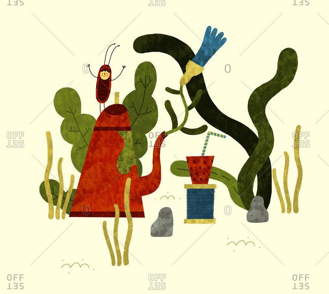 Ladybug and a teapot