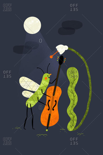 Winged insect playing a double bass