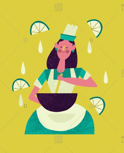 Woman stirring food in a bowl