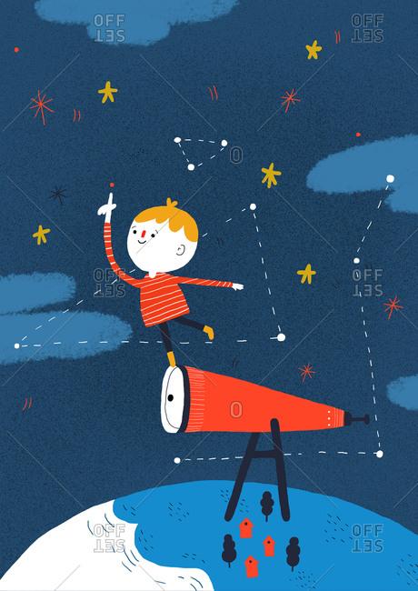 Little boy standing on a telescope
