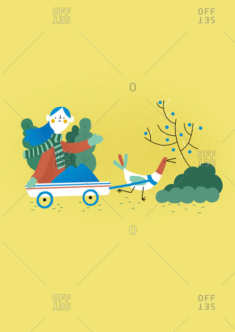 Girl in a wagon pulled by a bird