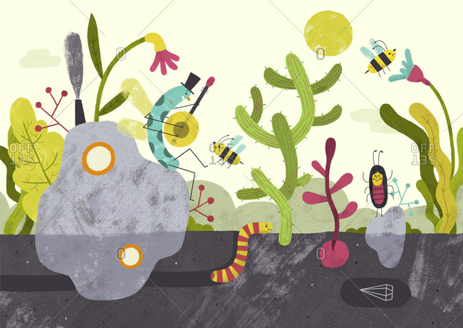 Insects listening to music in a garden