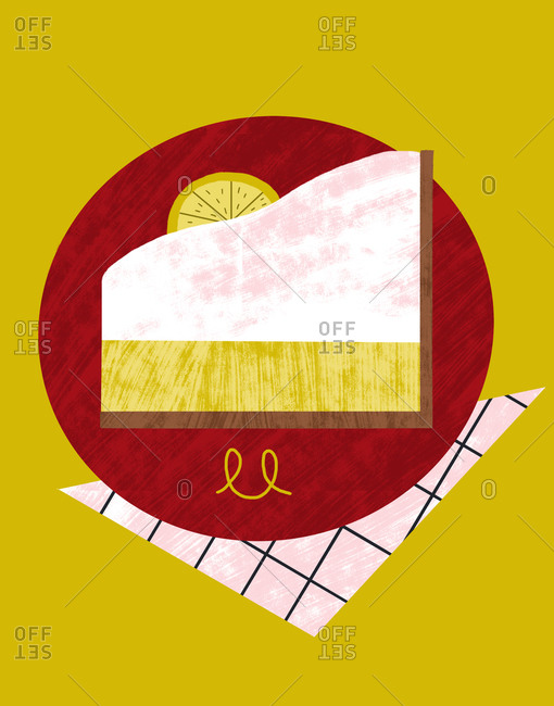 Slice of lemon pie on a red plate