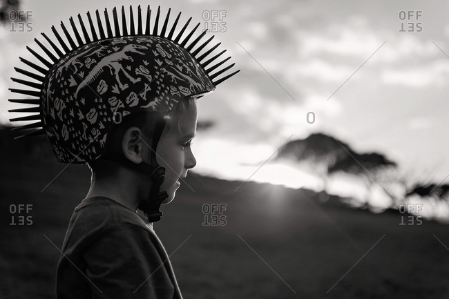Little boy with spiked helmet