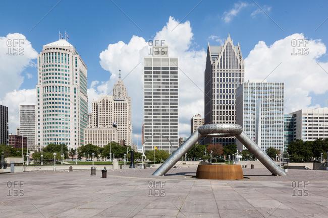 Detroit, Michigan, USA - August 21, 2012: Hart Plaza in Detroit, Michigan