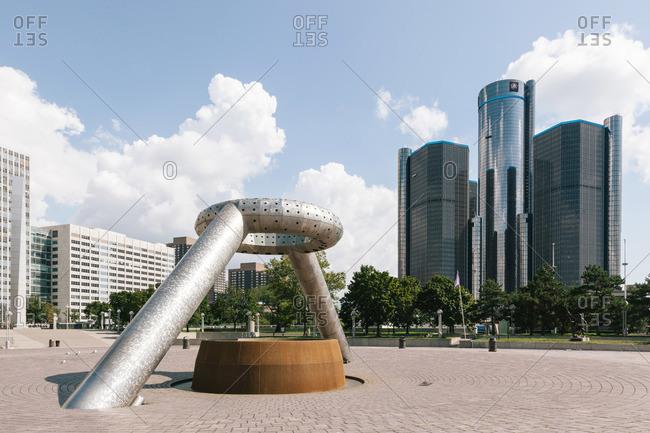 Detroit, Michigan, USA - August 21, 2012: The Horace E Dodge and Son Memorial Fountain in Detroit, Michigan