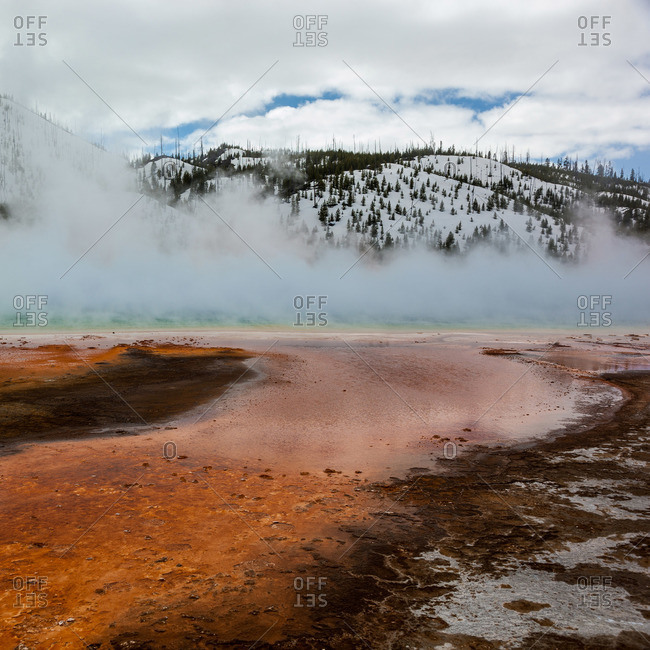 A red geyser field at Yellowstone National Park