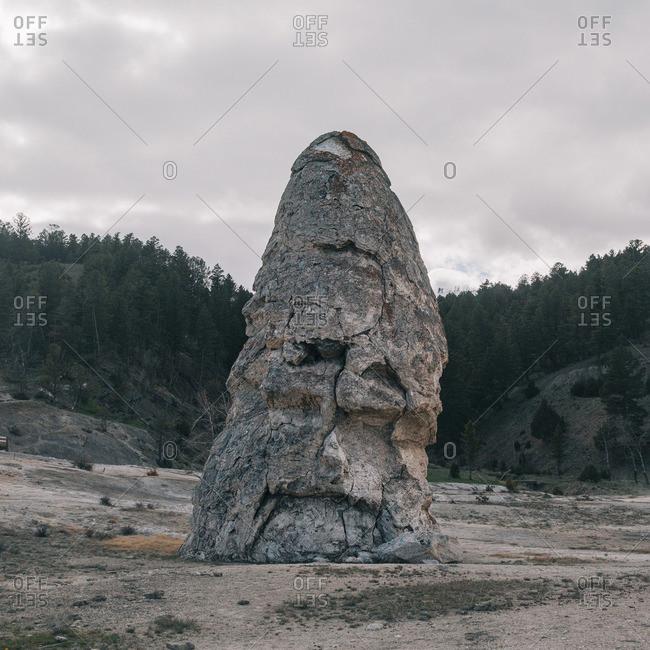 The Liberty Cap rock at Yellowstone National Park