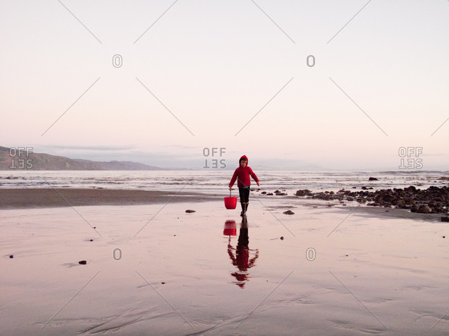 Boy fishing with net in marina