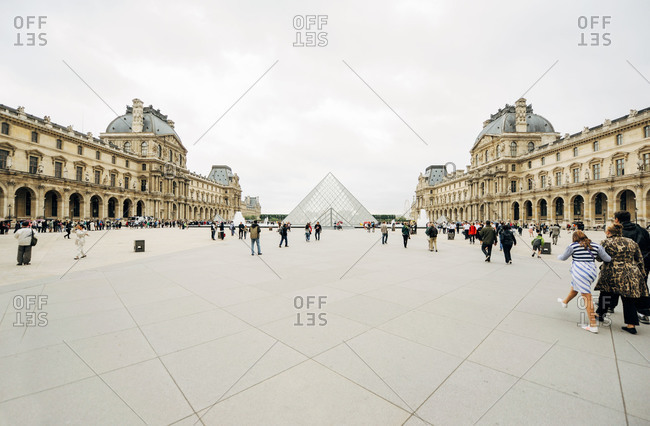 Paris, France - July 13; 2011: The Louvre Palace and the Louvre Pyramid