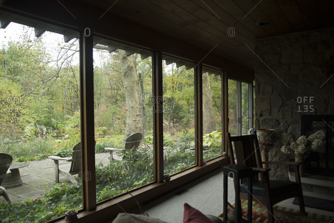 Kingwood Township, New Jersey - March 16, 2000: The view of a garden from James Golden's ranch home