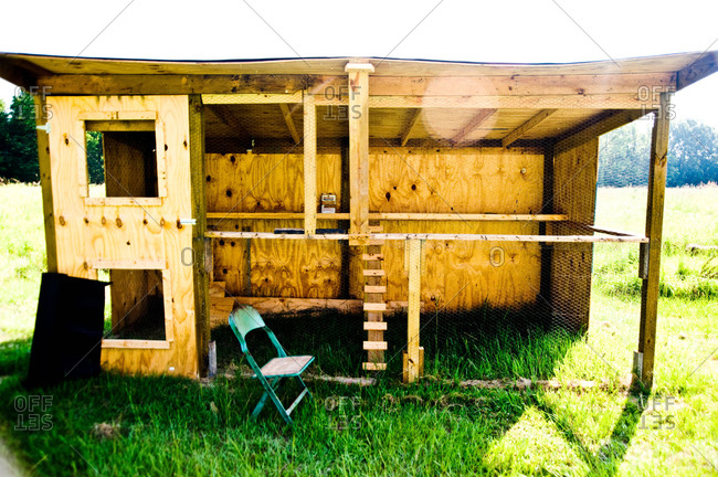 A chicken coop on a farm