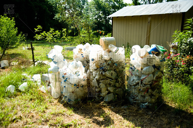 Plastic containers in a yard