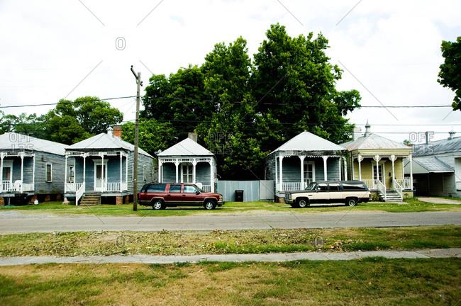 Donaldsonville, Louisiana - May 30, 2012: Shotgun houses