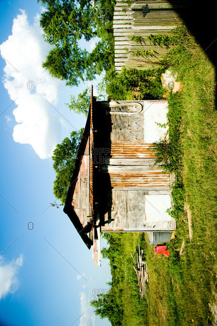 Arnaudville, Louisiana - May 29, 2012: A shed made from an assemblage of recycled material on the Michot homestead
