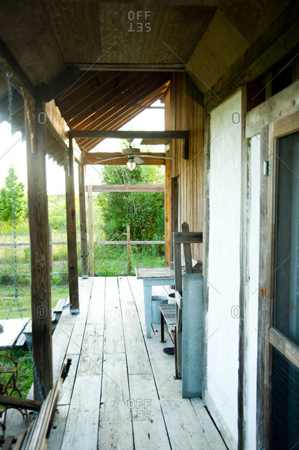 The back porch of a bousillage home made from old cypress