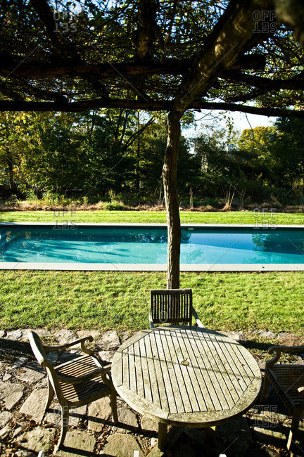 North Salem, New York - October 9, 2010: A pool in Page Dickey's yard