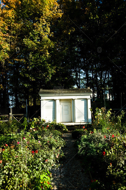 A shed in a large garden