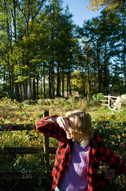 North Salem, New York - October 9, 2010: Page Dickey looks across her garden