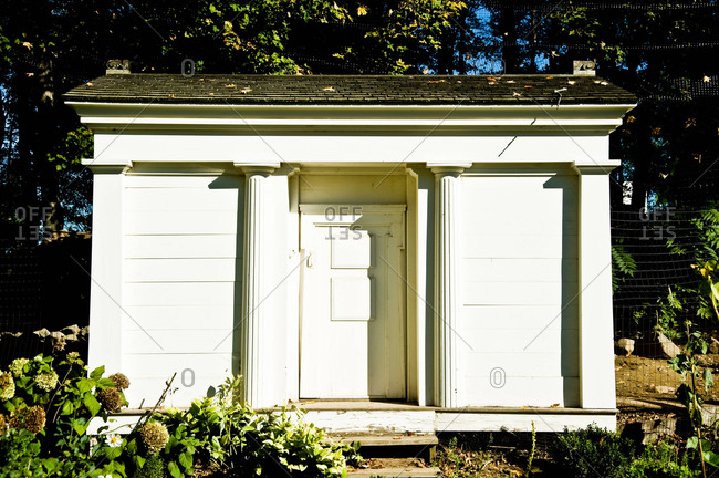 A shed in a yard