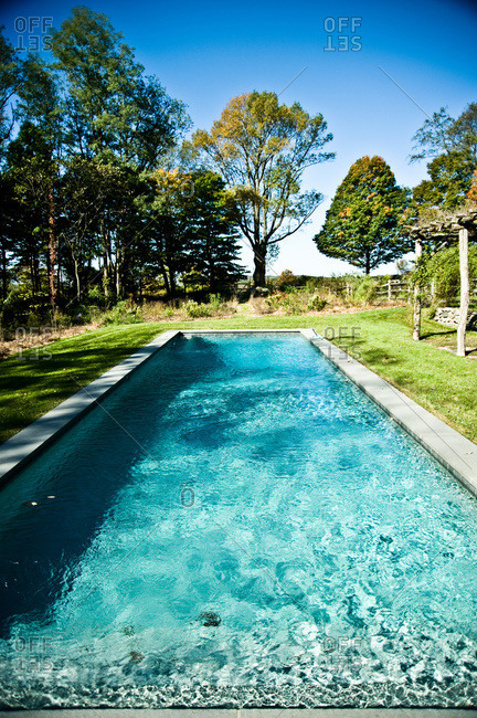 North Salem, New York - October 9, 2010: A rectangular pool on a Page Dickey's property