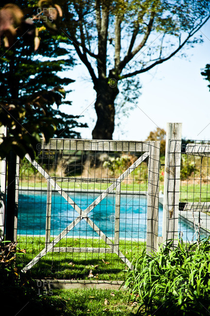 North Salem, New York - October 9, 2010: Page Dickey's pool behind a gate