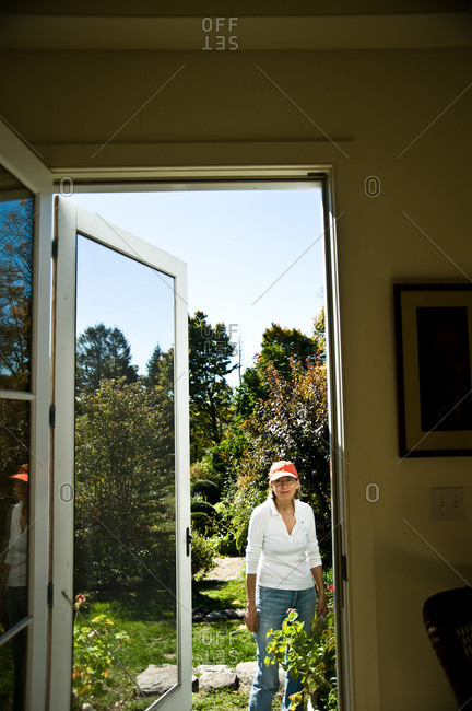 North Salem, New York - October 9, 2010: Page Dickey outside in her yard