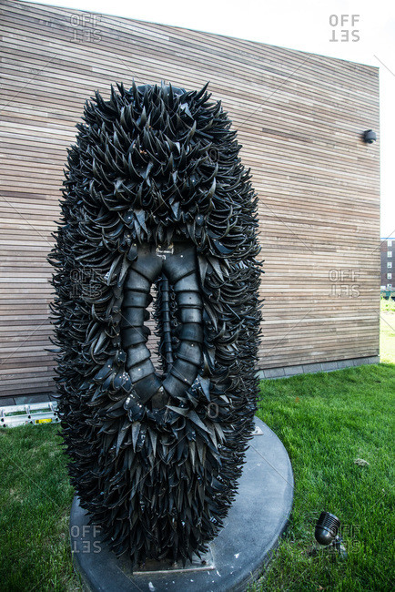 Brooklyn, New York - October 22, 2000: A sculpture  by Chakaia Booker made from tires at the Weeksville Heritage Center