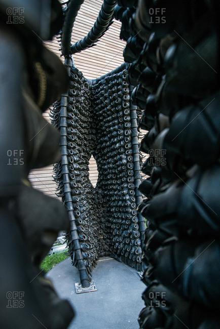 Brooklyn, New York - October 22, 2000: Sculptures by Chakaia Booker made from tires at the Weeksville Heritage Center