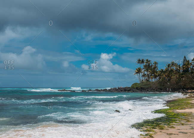 Choppy waves on Hawaiian beach