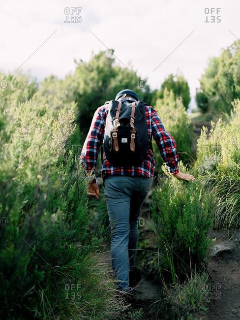 Man hiking in remote hills
