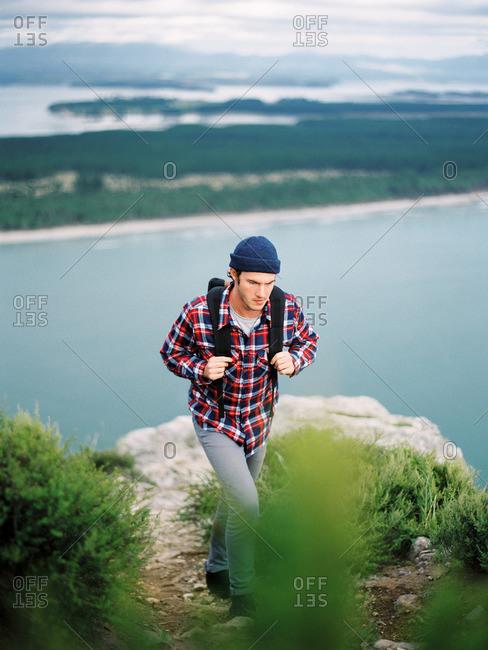 Man hiking in rural hills