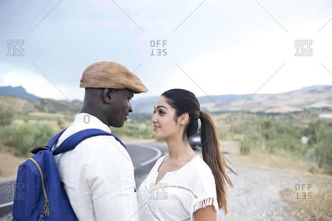 Romantic couple on wilderness road