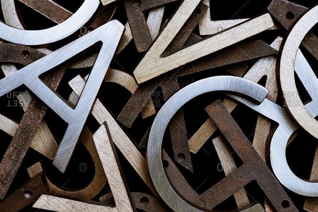 Jumble of metal letters