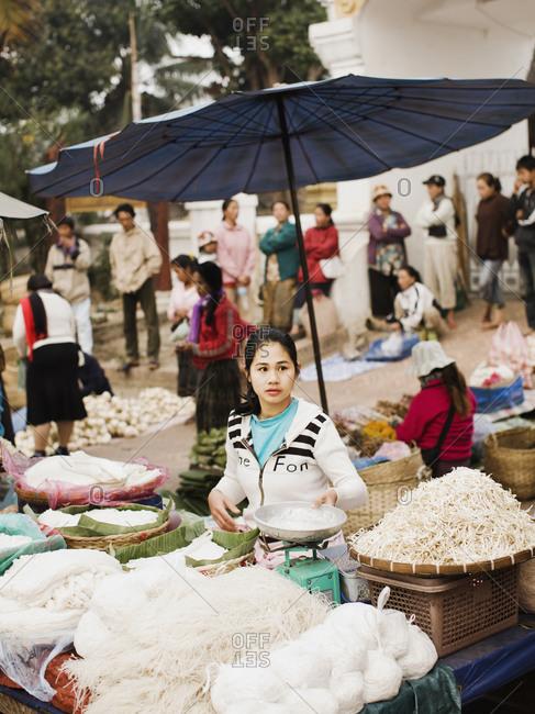 Luang Prabang, Laos - January 27, 2009: A noodle stand at the morning market, Luang Prabang, Laos