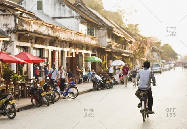 Luang Prabang, Laos - January 27, 2009: Sakkarin Road in morning, Luang Prabang, Laos