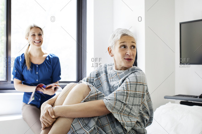 A hospital patient and her daughter