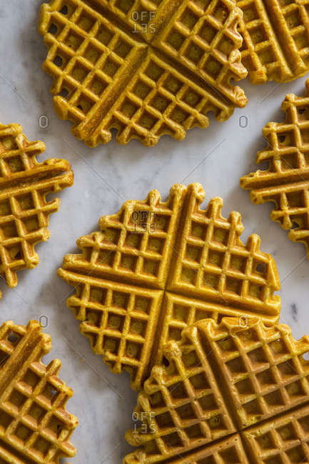 Waffles cool on a marble surface