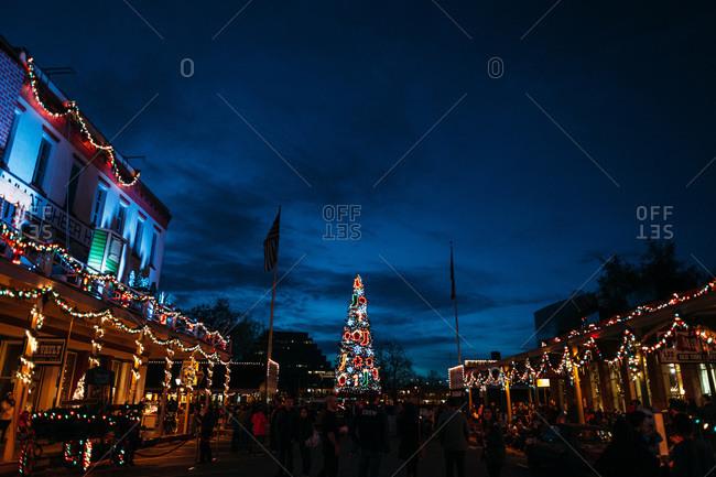December, 6, 2014 - Sacramento, California, USA: Holiday decorations at night