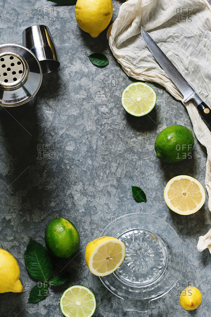 Lemons, limes, and a cocktail shaker
