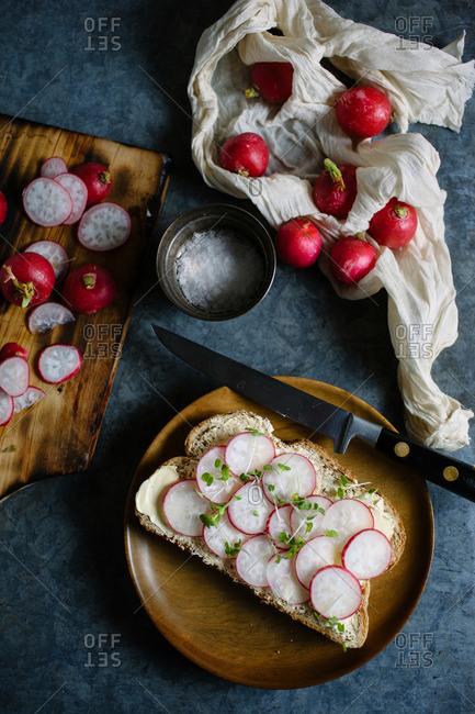Radish tartine and sliced radishes
