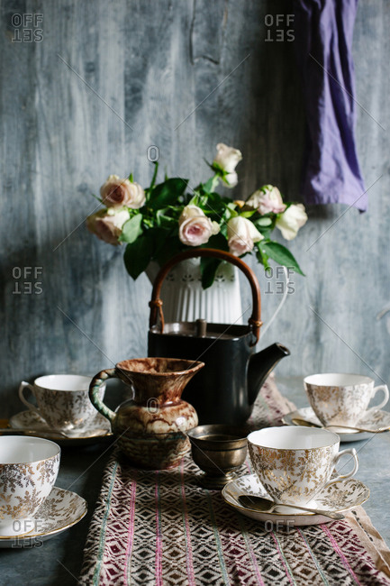 Rustic afternoon tea table setting