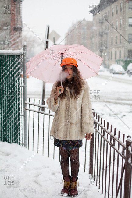 Young woman in the snow