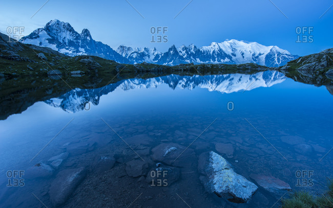 Mont Blanc reflected in the lake at blue hour