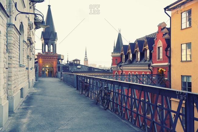 Iron footbridge in the district Soedermalm, Stockholm, Stockholm